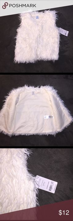 Furry Vest New With Tags! Cute faux fur shaggy vest new with tags Carter's Jackets & Coats Vests