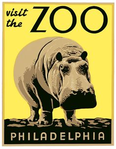 From the WPA Federal Art Project in Philadelphia, a hippopotamus marketing campaign: Visit the Zoo. Original in woodblock, circa 1936.