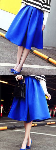 Blue High Waist Ruched Midi Skirt