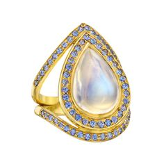 Temple St. Clair Royal Blue Moonstone & Sapphire Halo Ring