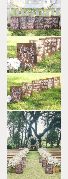 how amazing are these rustic wedding signs? gorgeous when used to line the wedding ceremony aisle! ~ we ❤ this! moncheribridals.com