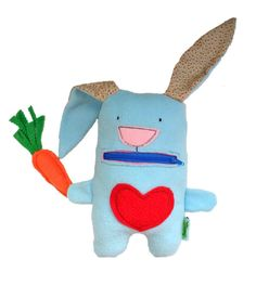 A bunny that eats carrot. Zipper mouth. Great practice for little fingers. Available at https://www.etsy.com/il-en/listing/275258118/bunny-eats-carrot-stuffed-animal-blue
