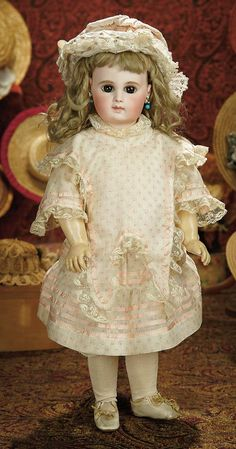 The Memory of All That - Marquis Antique Doll Auction: 129 Early French Bisque Portrait Bebe by Emile Jumeau with Very Beautiful Expression