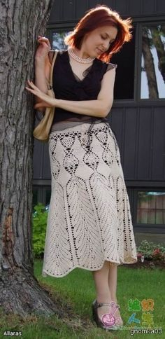 Gorgeous crochet beige skirt.  With diagram