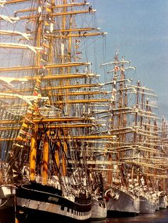 "rickinmar: ""Boston over the years has had many Tall Ships events ,starting in the 1970s. This late 1990s photo is by Ulrike Welsch and shows Black Falcon Pier, with the Russian barque Kruzenshtern first up. """