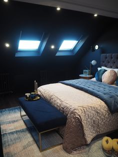There's nothing I love more about travelling than staying in boutique hotels, and when it came to updating our master bedroom, this is exactly what I had in mind. So when West Elm asked if I… Attic Bedroom Designs, Room Ideas Bedroom, Bedroom Colors, Grown Up Bedroom, Blue Master Bedroom, Loft Room, Bedroom Loft, Loft Conversion Bedroom, West Elm