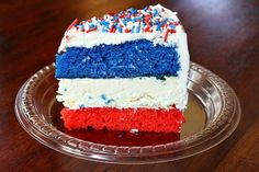 Red, White and Blue Cheesecake Cake recipe by Recipe Girl Delicious of July Dessert Recipes) Fourth Of July Cakes, Fourth Of July Food, July 4th, Patriotic Desserts, 4th Of July Desserts, Patriotic Party, Easy Birthday Desserts, Birthday Ideas, Cake Recipes