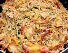 Sajtos-csirkés fajitas spagetti recept