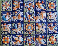 """Изразцовая цветная плитка из серии """"Древние символы"""".  Цена указана за один кв. метр. готового изделия.  Размер каждой изразцовой плитки&n"""