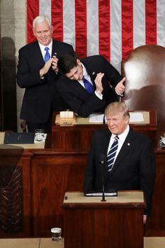 U.S. President Donald Trump addresses a joint session of the U.S. Congress as Vice President Mike Pence (L) and House Speaker Rep. Paul Ryan (R) (R-WI) look on on February 28, 2017 in the House chamber of  the U.S. Capitol in Washington, DC. Trump's first address to Congress focused on national security, tax and regulatory reform, the economy, and healthcare.