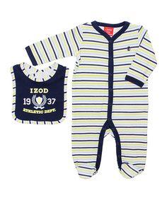 Love this Navy & Yellow Stripe Footie & Bib - Infant by IZOD on #zulily! #zulilyfinds