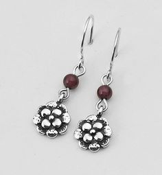Shablool Didae Sterling Silver Dangling Flowers Earrings Enhaced With Garnet 4mm Round Beads