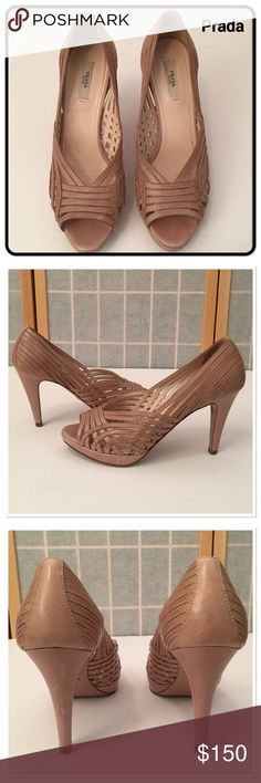"""Prada Open Toe Woven Leather Heels - NEW LISTING Beige woven leather with open toes. Slight platform is 3/4"""". Heel height is 4"""". Beautiful condition.  No box. Prada Shoes Heels"""