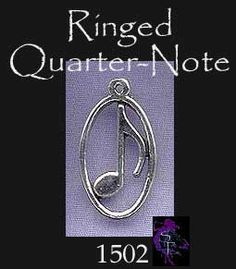 Ringed Music Note Pendant, Sterling Silver
