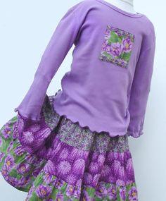 girls preteen fashions | Girls Twirl Skirt Set size 10, 12 or 14, Purple Cactus Flower, Long ...