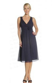 Dark Navy A-Line/Princess V-neck Empire Knee-length Sleeveless Flower(s) Chiffon Prom Dresses Dress