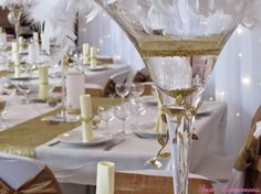 6 décorations de centres de table avec des vases martini                                                                                                                                                                                 Plus