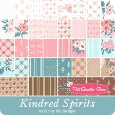 Kindred Spirits Charm Pack<BR>Bunny Hill Designs for Moda Fabrics - Mini Candy Pack - 10/15.  (Theme: Floral, girl & baby).