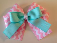 Light+pink+chevron+and+aqua+boutique+bow+by+DesignBeginnings,+$8.00