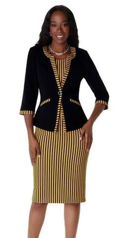 Beautiful two piece women church dress by Tally Taylor with strip print and details on jacket. Church Dresses For Women, Women Church Suits, Dresses For Work, Clothes For Women, Women's Fashion Leggings, Fashion Boots, Womens Dress Suits, Latest African Fashion Dresses, Older Women Fashion