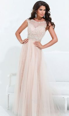 Cute Floor Sleeveless Natural A-Line Bateau Prom Dress Sale ykdress10724