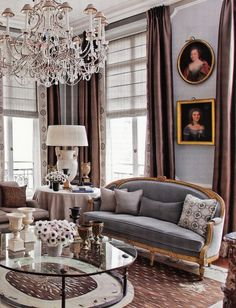 Pale grey walls and dark taupe trim/bronze with gold highlights and use of glass in table and chandelier. jean louis deniot home decor - Bing Images