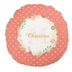 Pretty Peach Polka Dot Floral Wreath Name and Monogram Round Pillow http://www.zazzle.com/pretty_peach_polka_dot_floral_name_and_monogram_round_pillow-256500944185973474?rf=238835258815790439&tc=OSGRoundPillowsPin