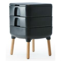 Charming Slate Grey Indoor Worm Composter Mid Century Style Compost Bin Home  Composting