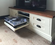 Bespoke tv cabinet with pull out turntable shelf