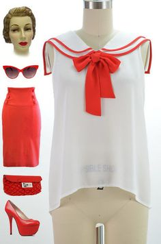3b80761b84c 50s Style Red White Nautical Pinup Sailor Blouse with Tied Neck Bib Detail