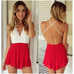 Multicolor Stitching Lace Halter Backless Sexy Siamese A- Line Jumpsuit