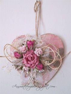 Rose Heart - Ally Pally Inspired make Valentine Wreath, Valentine Day Crafts, Valentines, Heart Decorations, Valentine Decorations, Shabby Chic Hearts, Diy And Crafts, Paper Crafts, Heart Crafts