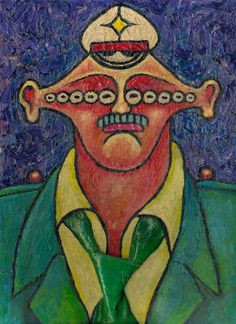 Polizist mit dicker Krawatte (Policeman with a Fat Tie), 1981 by J.G.Wind - Oil Painting / Pittura metafisica / Neo metaphysical art / Kunst der 80er
