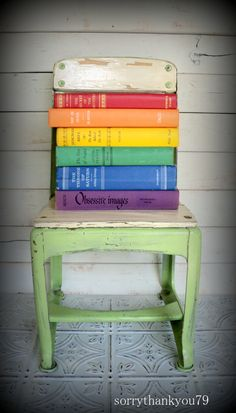 photography props--vintage rainbow books!