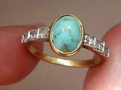 superbe bague ancienne Or 18 carats PLATINE  DIAMANTS turquoise 1930 art-déco