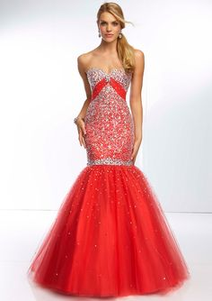 Bright red sparkly gown