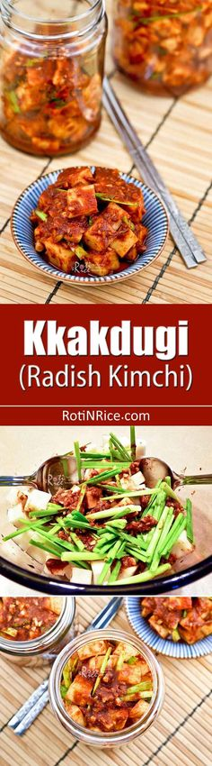 Kkakdugi (Radish Kimchi) is a variety of kimchi made with Korean radish. It is a deliciously spicy and crunchy condiment eaten with steamed rice. Radish Kimchi, Kimchi Kimchi, Cooking Recipes, Bento Recipes, Drink Recipes, Yummy Recipes, Recipies, Dinner Recipes, Asian Recipes