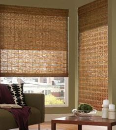 Woven wood shades with a roller shade behind it. You can block the light or  have it filter through. It's your choice! Budget Blinds can get this look for you!