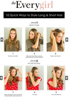 10 Quick Ways to Style Long Hair (misnomer: well I won't say quick b/c we all know how long it takes to blow dry and flat iron or curl your hair)