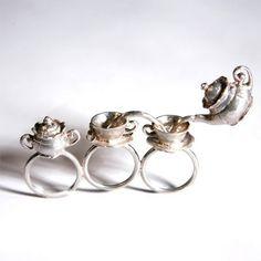 Ridiculously cute tea set rings.