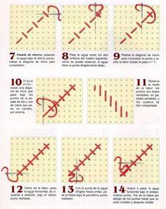 Bordados y punto cruz aprendiendo a bordar su paso apaso - Como empezar a hacer punto paso a paso ...