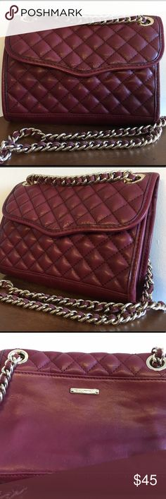 Deep Red Rebecca Minkoff Mini Affair Purse Genuine leather, gently worn, in deep red with gold hardware. Very lightly used (only a few times). Can be worn as crossbody or double the strap to wear on your shoulder Rebecca Minkoff Bags Crossbody Bags