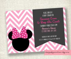 Modern Chevron Minnie Mouse Bow - Baby Shower or Kids Party - PRINTABLE Invitations. $12.00, via Etsy.