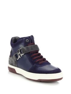 Ferragamo Nayon Leather High Top Sneakers | Shoes and Footwear