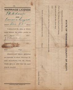 Scott Co, TN Marriages 1911-1920