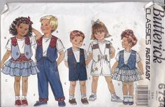 Rare, NEW AND UNCUT, Vintage Butterick Classics 6734, Fast and Easy, collection for toddlers wardrobe, vest, shirt, skirt, pants and shorts. by TreasuresFromGranny on Etsy