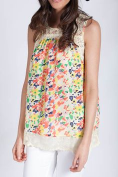 Lotus Boutique - Floral Sleeveless Printed Top  #cream #floral #flower #lace #pink #tank #taupe