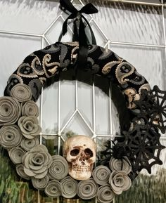 Spooky Skull and Spider wreath. Halloween wreath. by TheModernDoor on Etsy