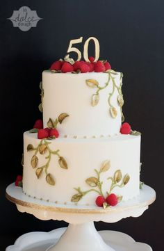 50th Wedding Anniversary Gold Leaf Raspberry Vine 2 tier cake. Inspired by Jim Smeal.