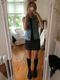 outfit to the city: etsy choker, brandy melville dress and jean vest, payless socks, urban outfitters shoes :~)